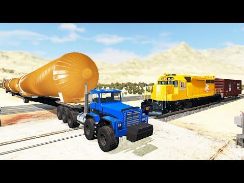 Railway Сrossing Train Сrashes #10 - Beamng drive
