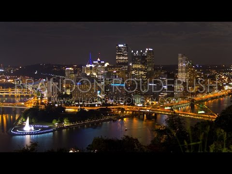 Scenic Night Timelapse Of Pittsburgh, PA Skyline From Mt Washington HD - Royalty Free Stock Footage