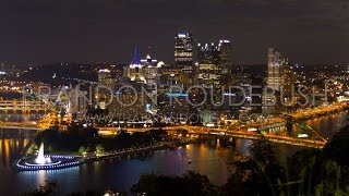 Scenic Night Timelapse Of Pittsburgh, Pa Skyline From Mt Washington Hd   Royalty Free Stock Footage