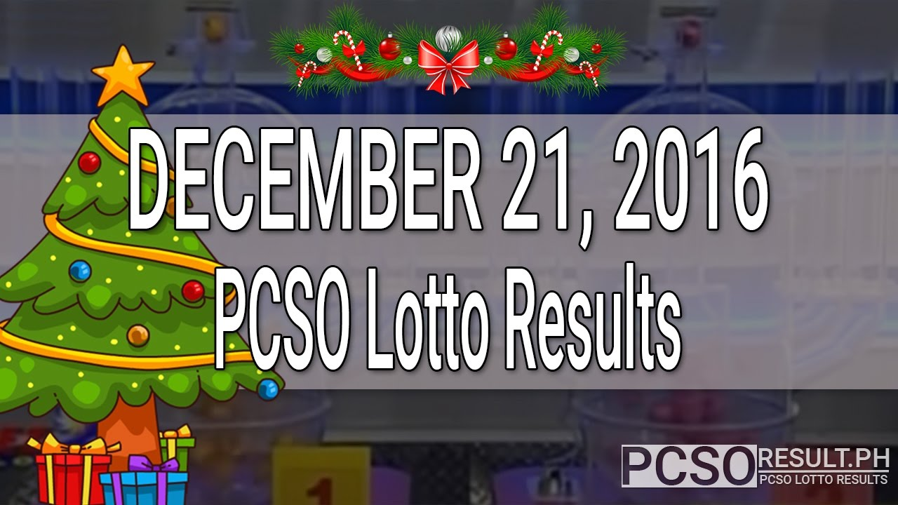 PCSO Lotto Results December 21, 2016 (6/55, 6/45, 4D, Swertres & EZ2) - YouTube