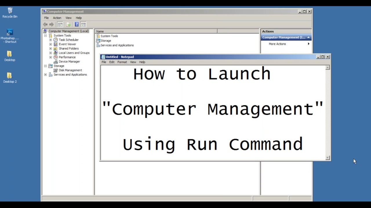 Run Command to Launch Computer Management