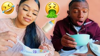BREAST MILK IN CEREAL PRANK ON BOYFRIEND!! *HILARIOUS*