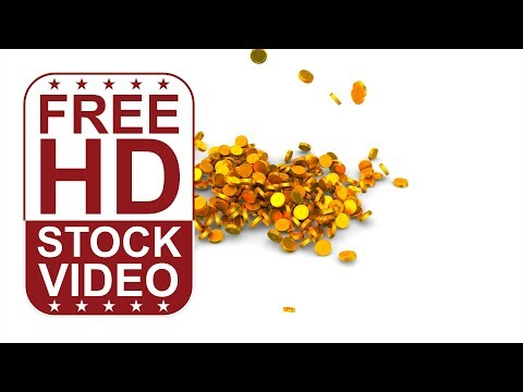 FREE HD video backgrounds – Gold coins falling to white ground 3D animation