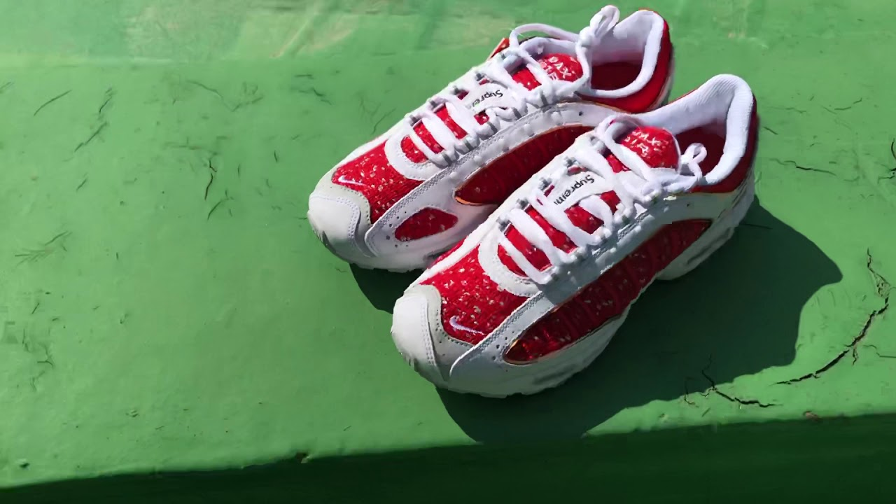 a4ee0adbe Closer Look - Nike x Supreme Airmax Tailwind 4 in White Red