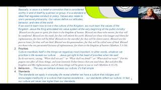 2021_0204 PWAM Bible Study: Kingdom Principles - Chapter 11 -  KINGDOM CULTURE - PART 2