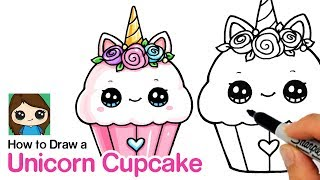 Follow along to learn How to Draw a cute Unicorn Cupcake dessert ea...