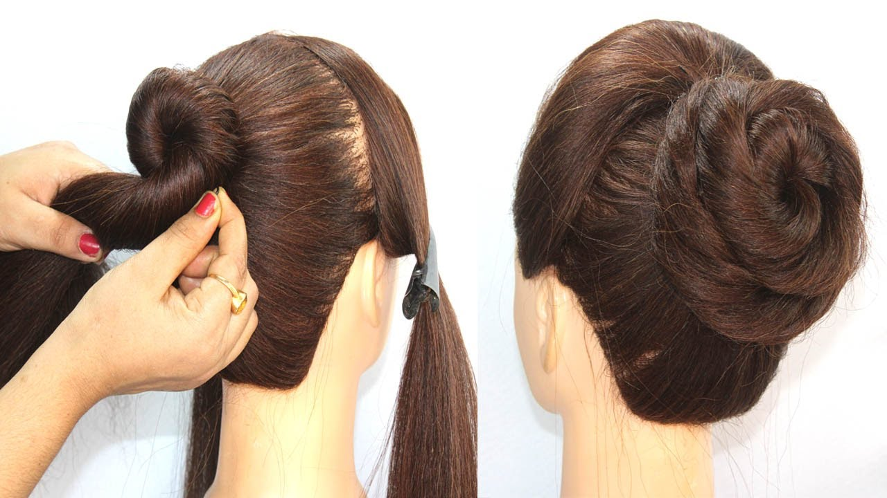 easy and simple hairstyle with trick || quick hairstyle || hair style girl || new bun hairstyle