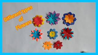 How to make easy paper flowers/different types of paper flower making.