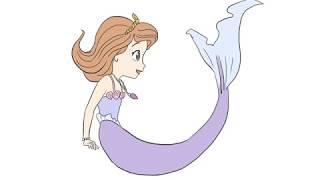 小公主苏菲亚美人鱼儿童亲子简笔画
