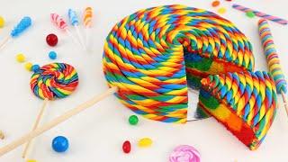 Lollipop CAKE with Rainbow Surprise INSIDE!! Full Recipe!