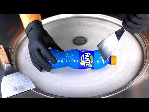 ASMR - blue Fanta Ice Cream Rolls | oddly satisfying fried Fanta Ice Cream with tapping Sounds
