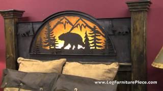 Rustic Barnwood Bear Silhoutte Bed