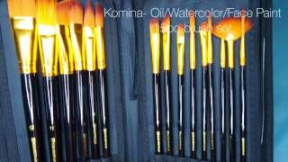 Komina 15pc brush set for Oil/Watercolor or Face Paint