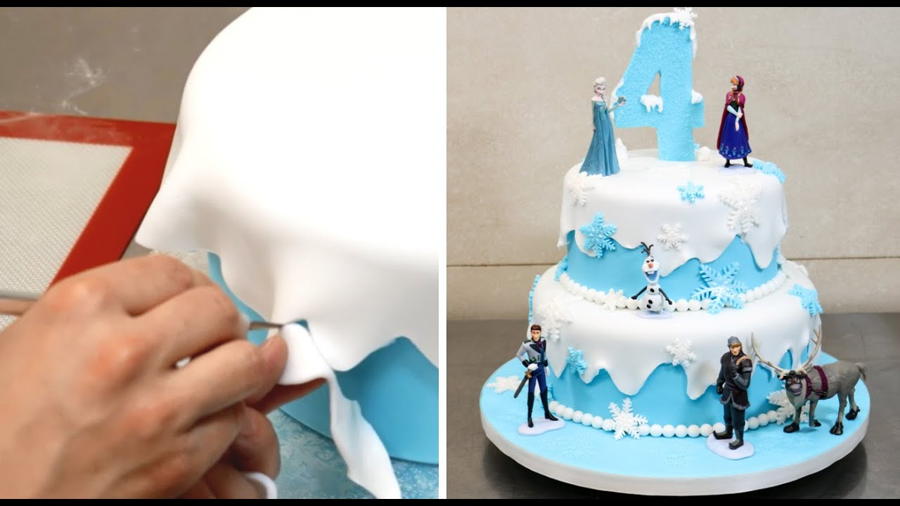 How To Make A Frozen Disney Cake By Cakesstepbystep Youtube