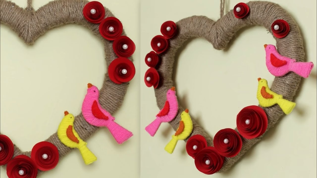 Heart Wall Hanging Jute Craft Decoration Idea At Home Handmade