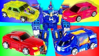 Machines transformers from the cartoon TURNING MECARD. Cars are transformed into robots