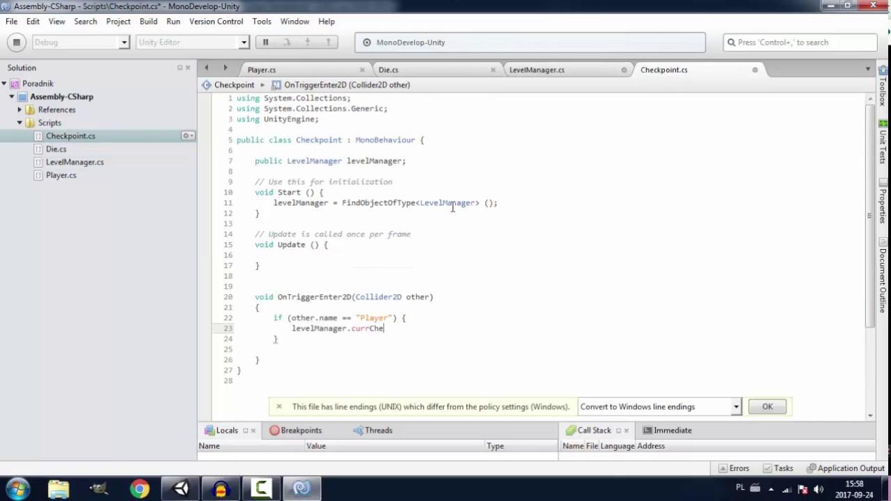 Poradnik z Unity 2D - Checkpointy (słaba jakość).
