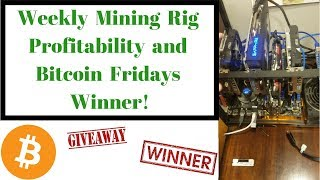 Weekly Mining Rig Profitability and Bitcoin Fridays Winner!