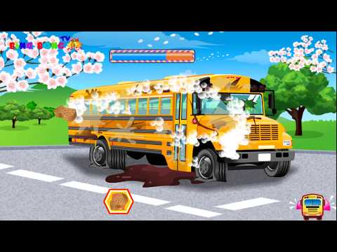 School Bus Car Wash – Repair & Build School Bus – Video game for Kids | Video for Toddlers #coolgame