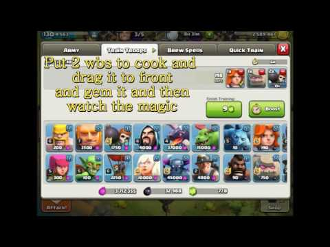 1 Gem Dark Army Trick - Clash of Clans Glitch