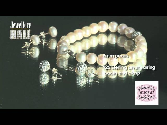 Freshwater Pearl with crystal Bracelet set