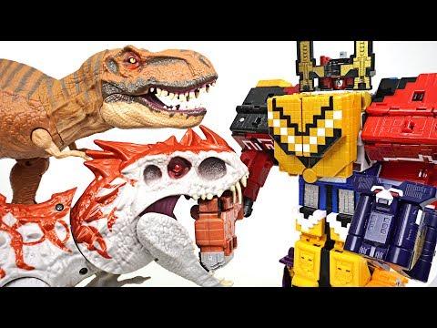 Terrible Jurassic dinosaur appeared!! Power Rangers Zyuohger Wild Zyuoh King combine!! - DuDuPopTOY