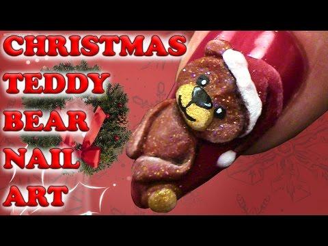 Christmas Teddy Bear Nail Art - 3D Acrylic Design - Step By Step Tutorial
