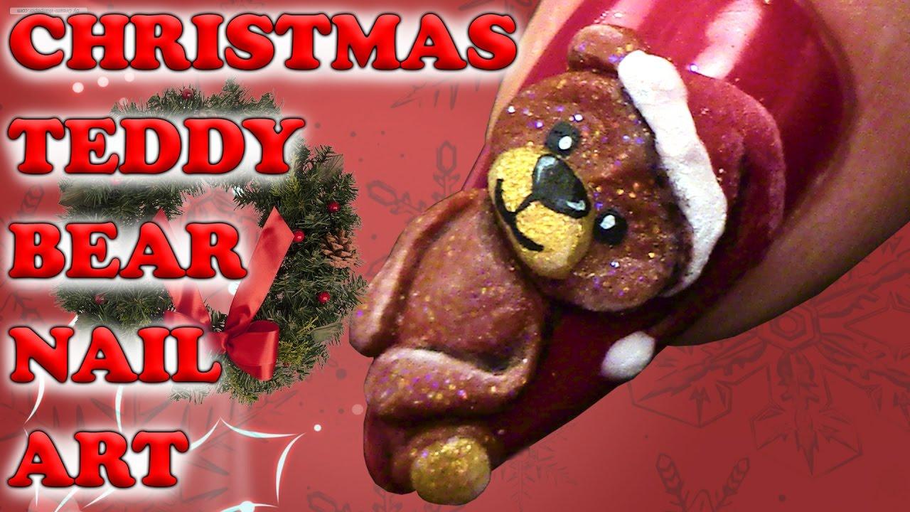Christmas Teddy Bear Nail Art 3d Acrylic Design Step By Step