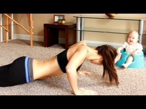Baby laughing at Mama's push up workout