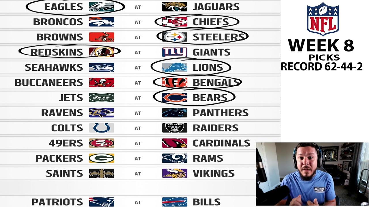 MY BEST WEEK YET!! HOT STREAK? WEEK 8 NFL PREDICTIONS