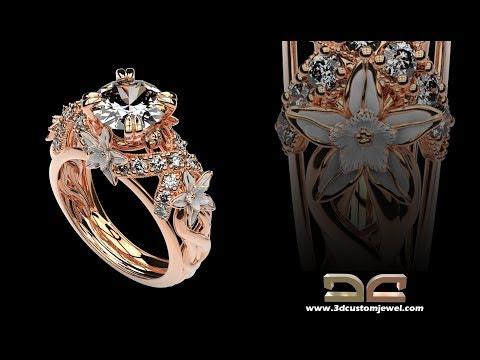 3d custom jewel design services show the lastest engagement ring