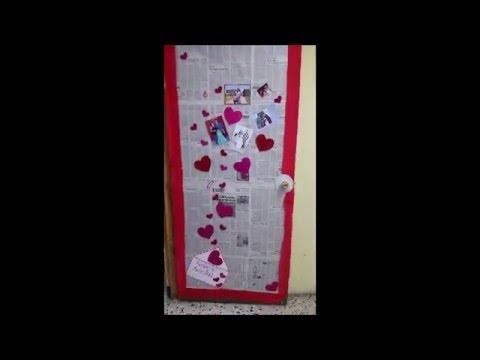 Decoraci n puerta del sal n 14 de feb amor y amistad for Puertas decoradas del 14 de febrero