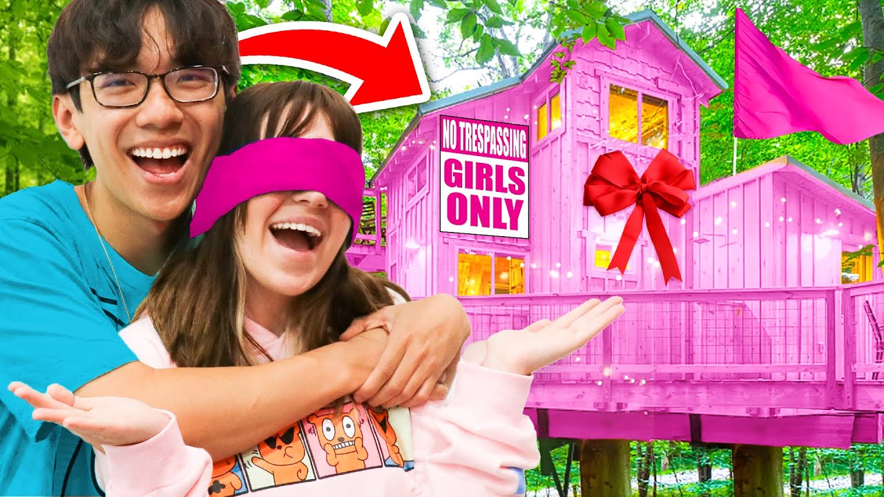 Surprising My Girlfriend With A GIRLS ONLY TREEHOUSE!