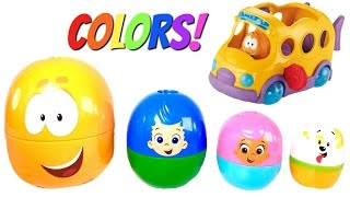 Best Learning Colors Video for Children with Bubble Guppies Stacking Cup and School Bus