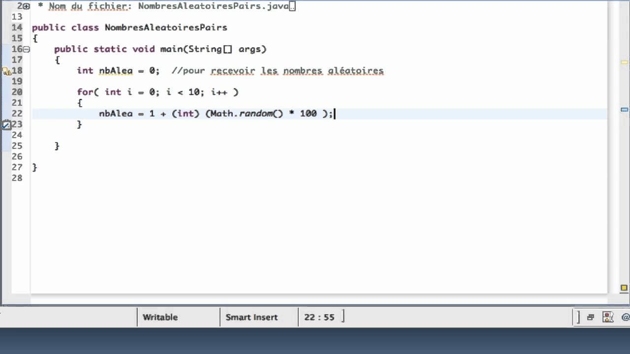 Apprendre Java Classe Nombresaleatoirespairs Youtube