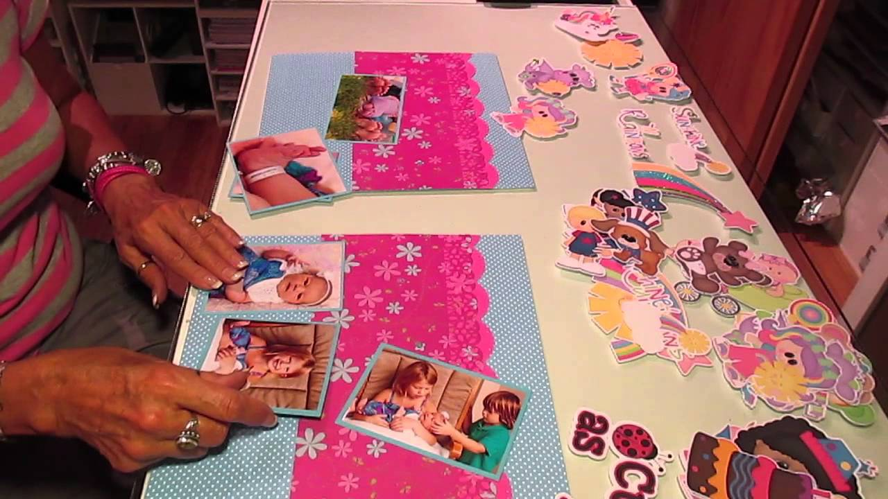Scrapbook ideas for baby girl - 2 Page 12x12 Baby Girl Scrapbook Layout
