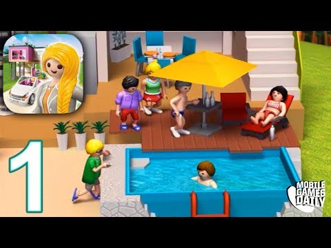 PLAYMOBIL LUXURY MANSION Gameplay Part 1 - Building a Bath (iOS Android)