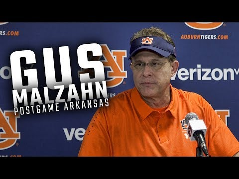 Hear what Gus Malzahn had to say following Auburns 343 win over Arkansas