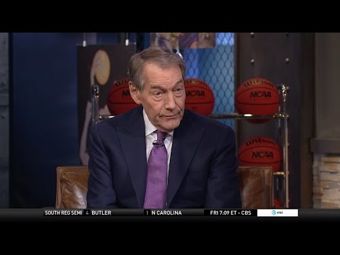 Charlie Rose joins the crew during halftime of Michigan-Oregon