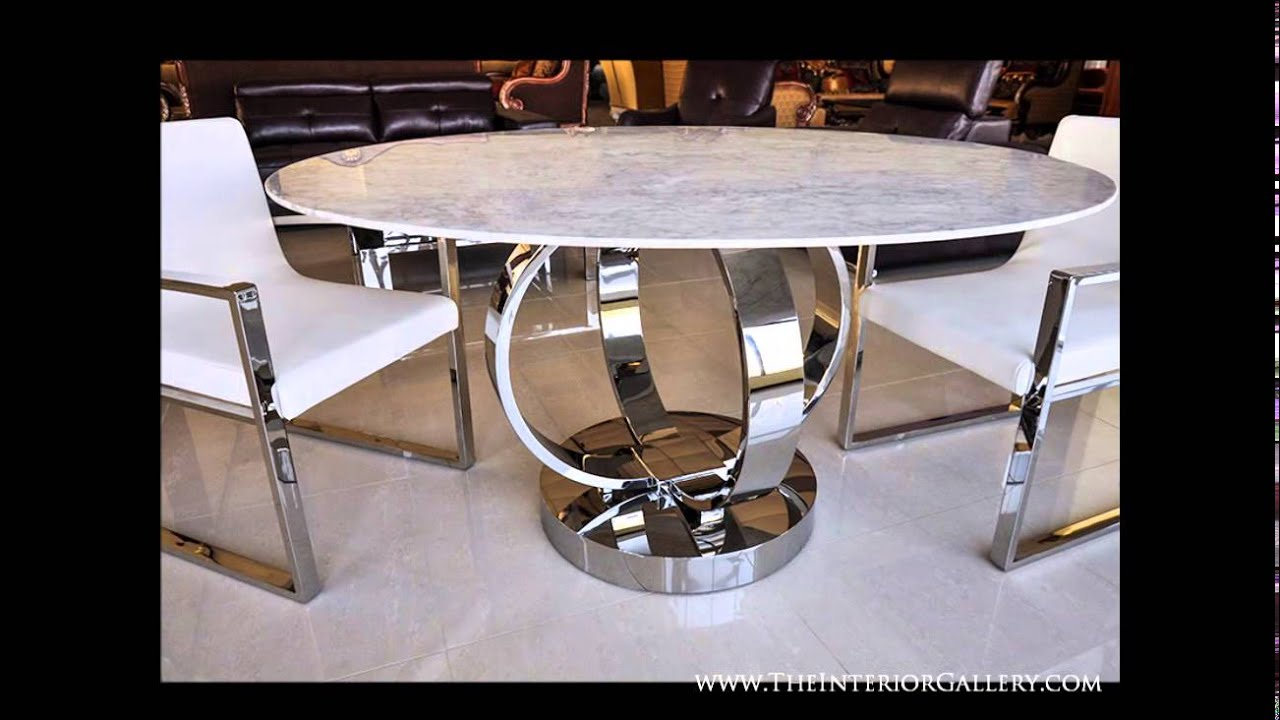 Modern luxury round dining table white marble cerchio for Expensive dining tables