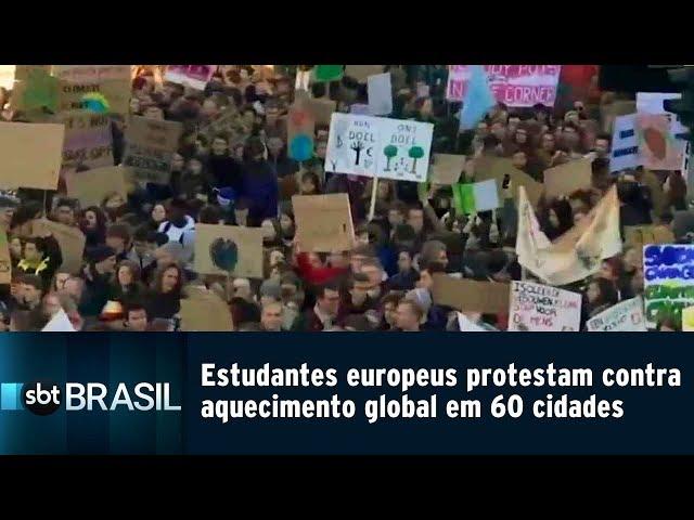 Estudantes 60 cidades europeias protestam contra aquecimento global | SBT Brasil (15/02/19)