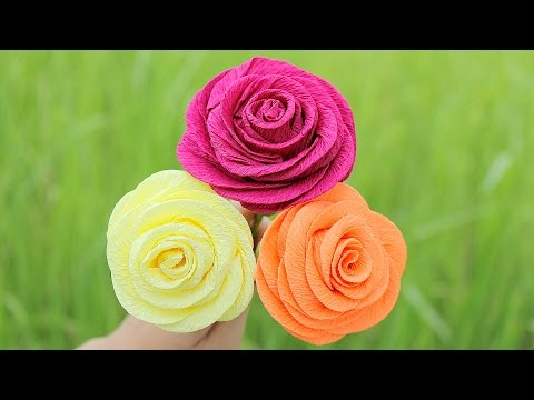 How to make Rose Paper Flower 2017 ( Very Easy ) - DIY Paper Crafts