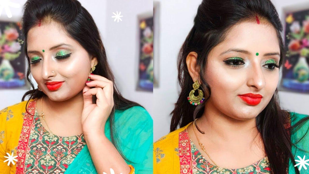 सावन स्पेशल मेकअप Green Suit के साथ कैसे करें l Sawan Special Makeup Tutorial l Kiranshankar