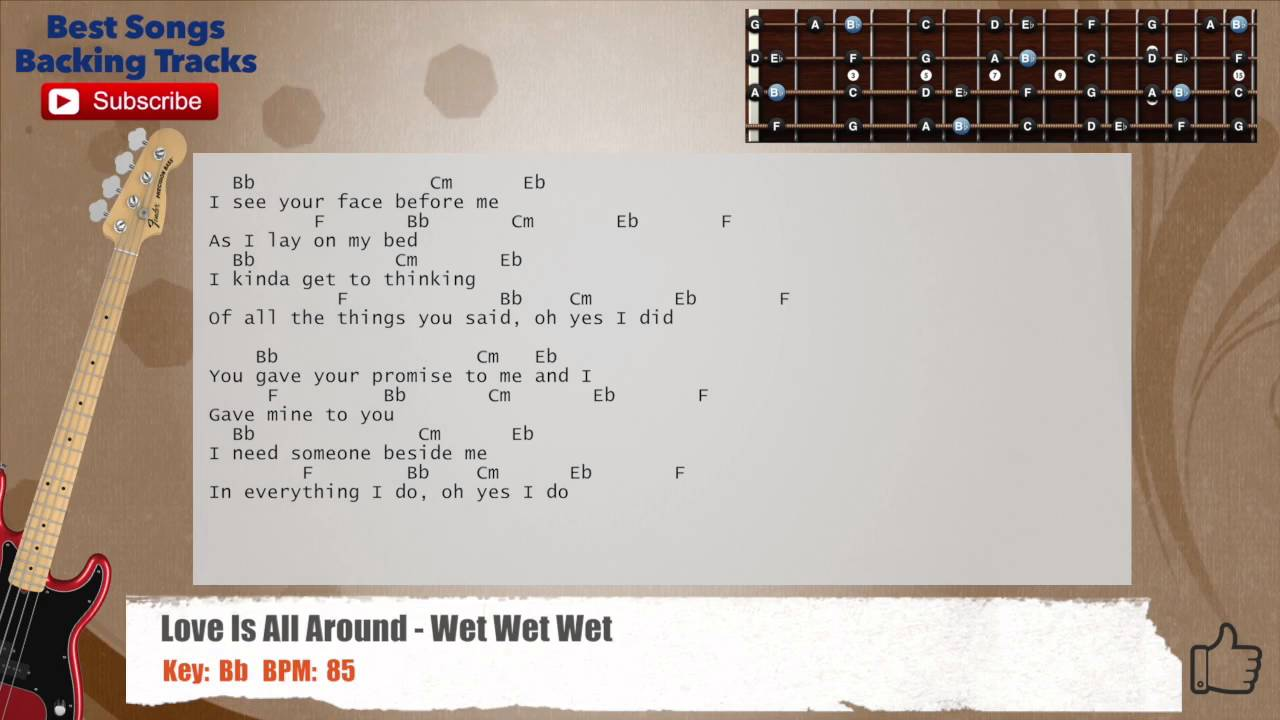 Love Is All Around Wet Wet Wet Bass Backing Track With Chords And