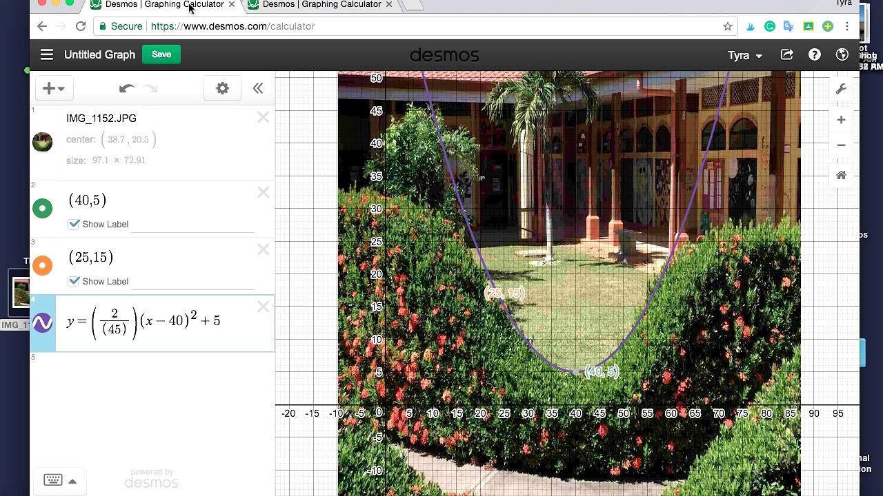Desmos Video - Parabola Selfie Project by Algebra and Beyond
