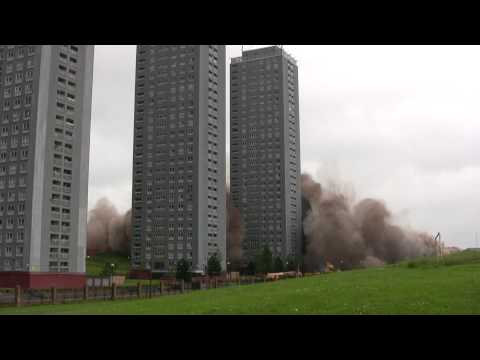 Red Road Flats Demolition Huge Dust Cloud 10-06-2012 Full HD