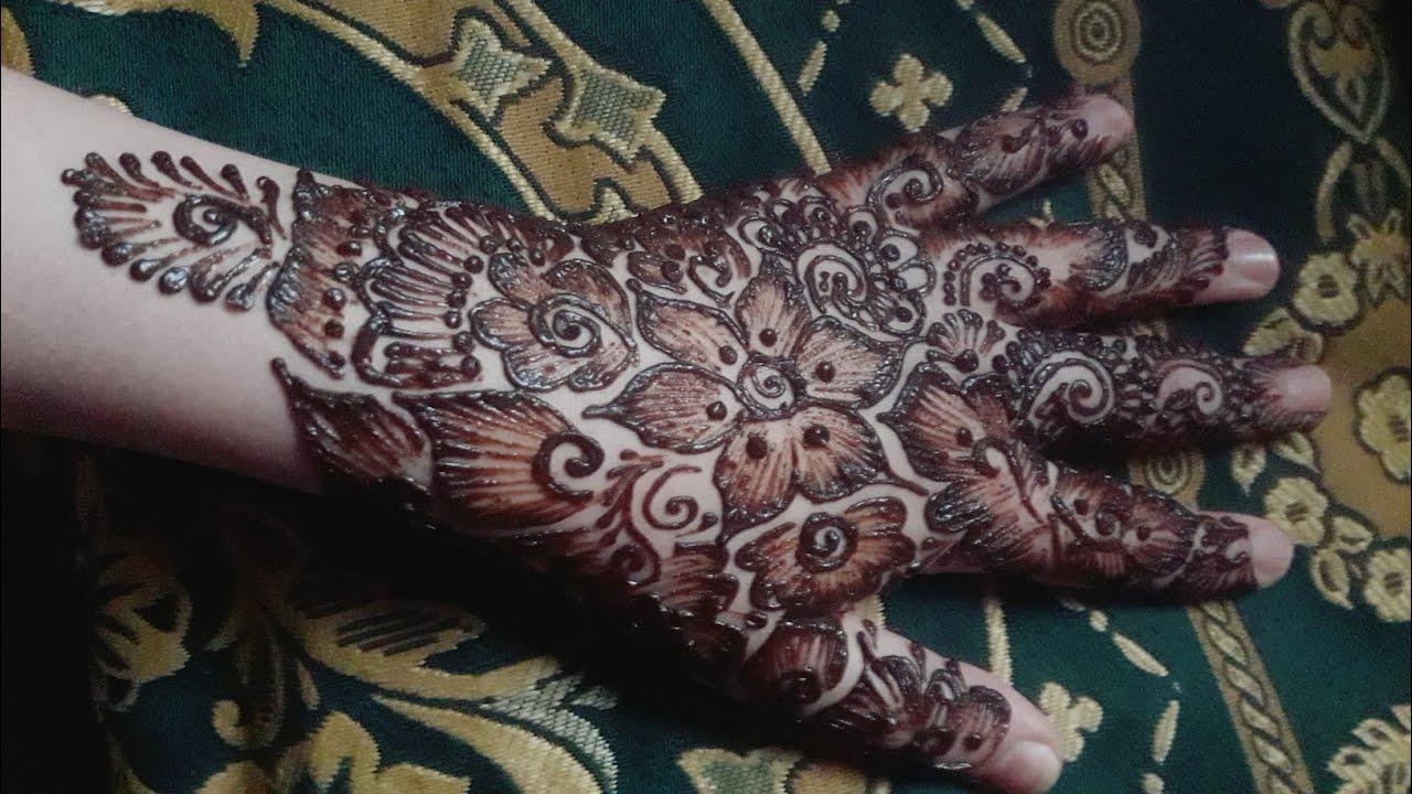 نقش الخطفة يد عامرة الخطفة نقش الحناء بالإبرة Arabic Mehndi Design Full Hand Mehdi Design Youtube