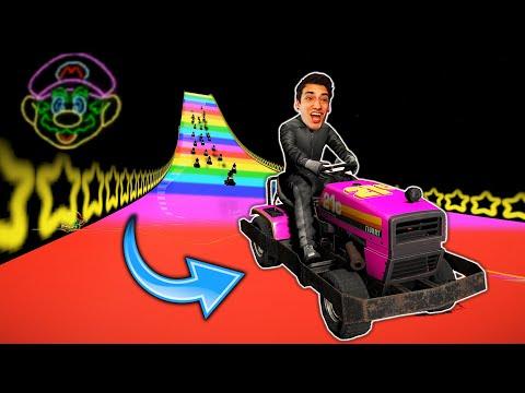MARIO KART LAWN MOWER RACING?! *RAINBOW ROAD* (Wreckfest)