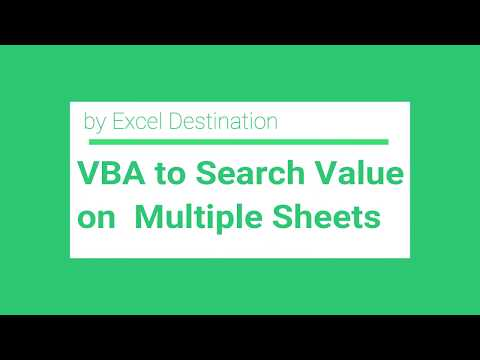 VBA to Search Value on Multiple Sheets