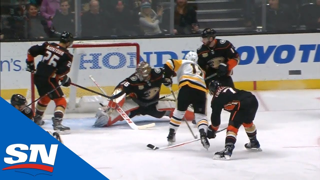 John Gibson Gets Across To Stun Bryan Rust With A Great Pad Save